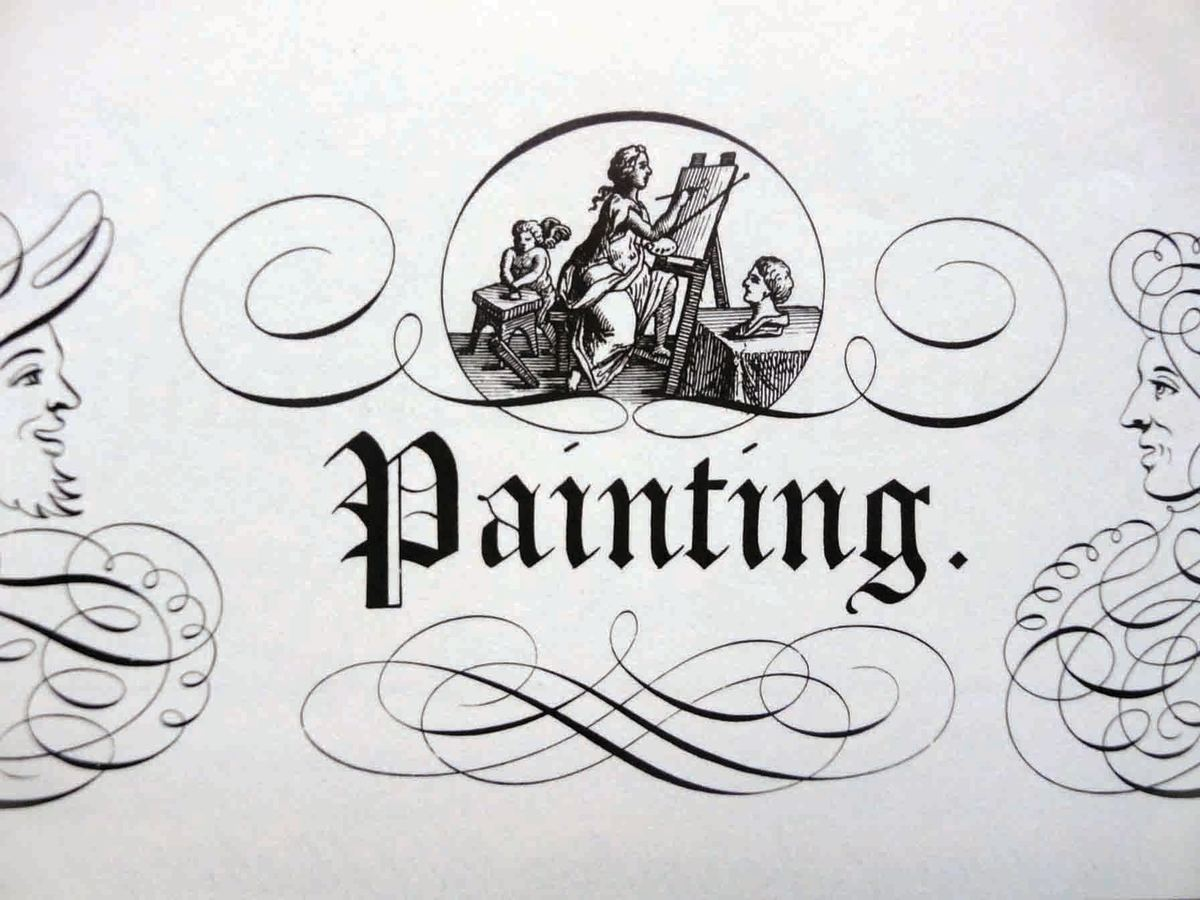 """This illustration, plate #103, celebrates the art of """"Painting;"""" with the word spelled out in Old English text. Two figures face each other, done in curls, swirls and flourishes, by E. Brooks."""