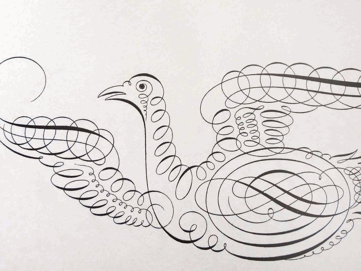 Plate #111 is close-up detail of a beautiful bird illustration done in script using spirals, swirls and flourishes by Joseph Champion.
