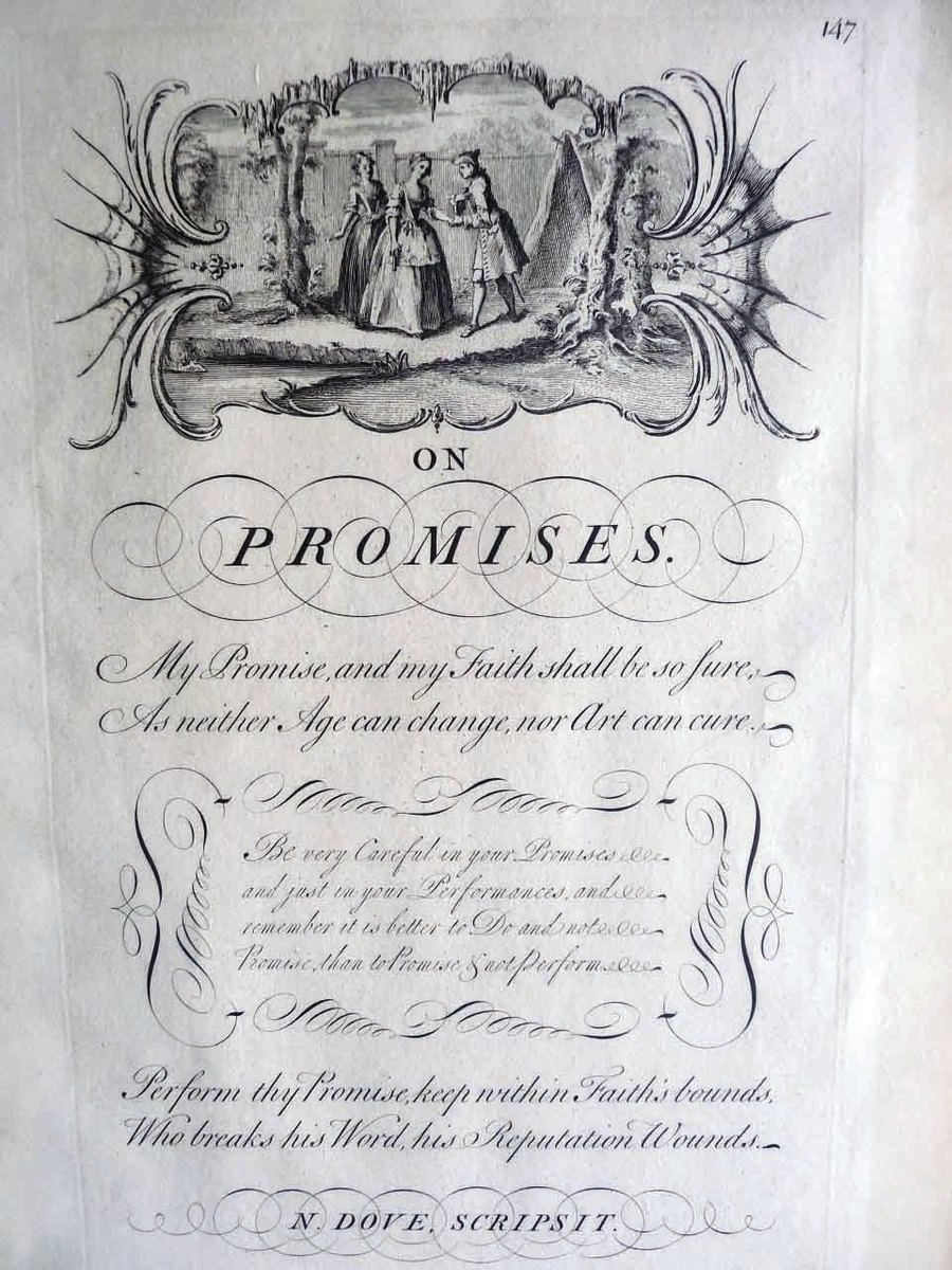 """Plate #127, original broadside from the 1743 edition. titled, """"Reputation,"""" extolling the virtues of a good reputation, which is earned by a man's virtues of Discretion, Sincerity, and Humility. An engraving of Lord Mayor is at the top. This message was penned by Mo. Gratwick, 8-1/2"""" x 13; $120."""