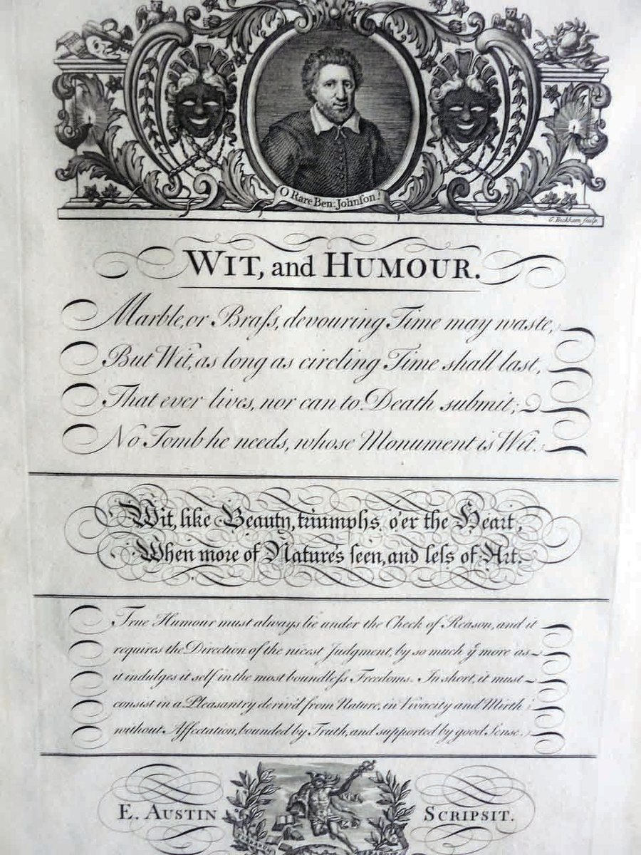 """Plate #53 from original 1743 edition, titled, """"Wit, and Humour,"""" by Emannuel Austin. Dated, with Roman numerals, to 1735 engraving at top of page of Ben Johnson, English and Roman print, as well as Italian hand are used in the lettering, 8-1/2"""" x 13""""; $130."""