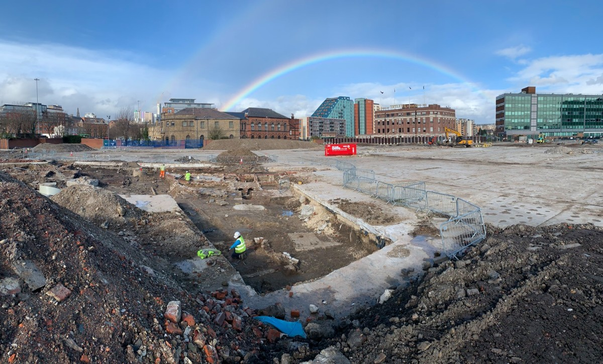 Somewhere under the rainbow ... the excavation site in the center of Leeds.