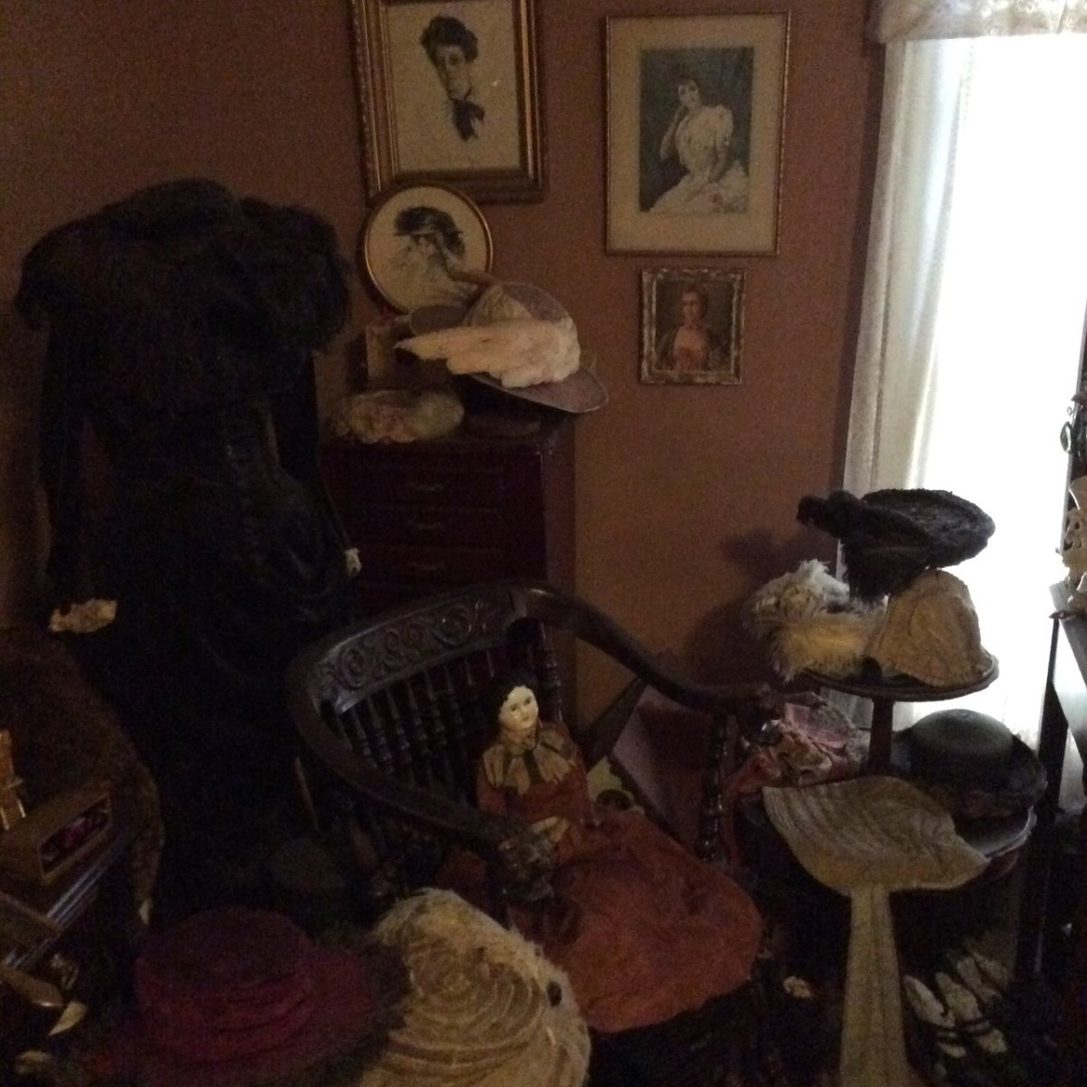 Mullikin's favorite collection of antique clothing and hats. She said that all of the clothing in her collection, as well as the hats, are from many special customers that she has worked with over the years.