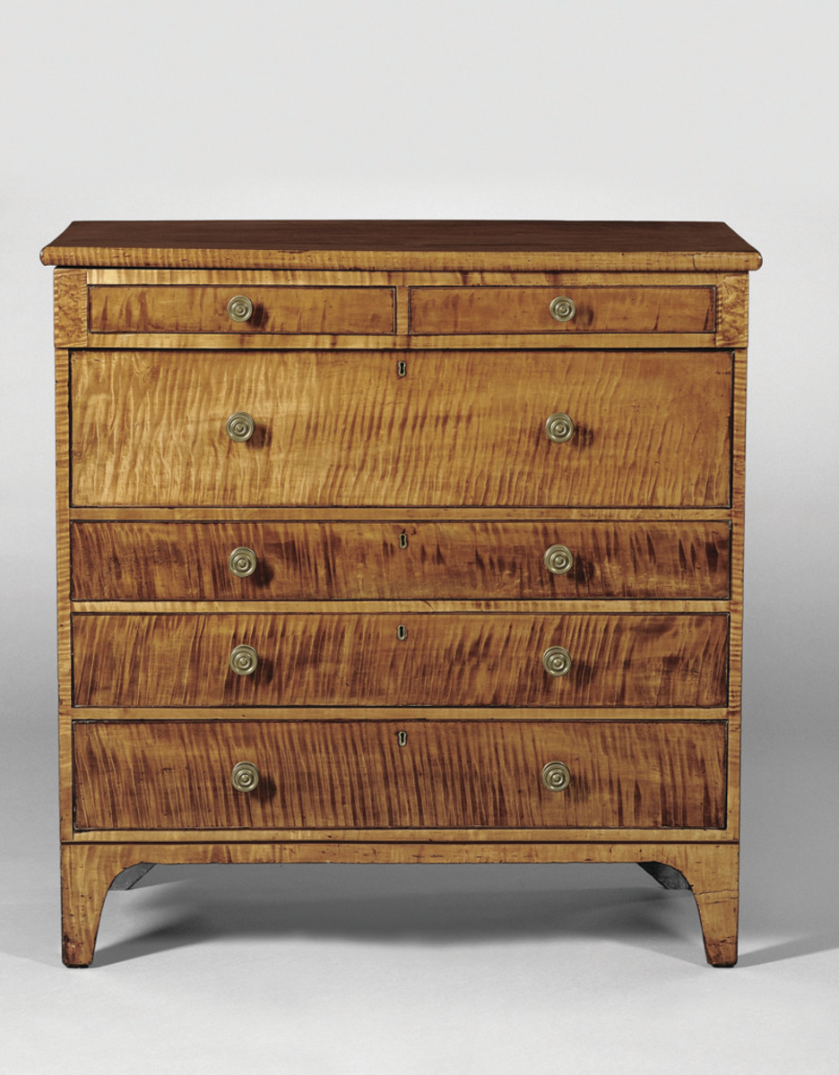 Care in handling, cleaning and pest control will help keep this Federal tiger maple and cherry inlaid chest of drawers, 1816, looking spectacular for years to come.