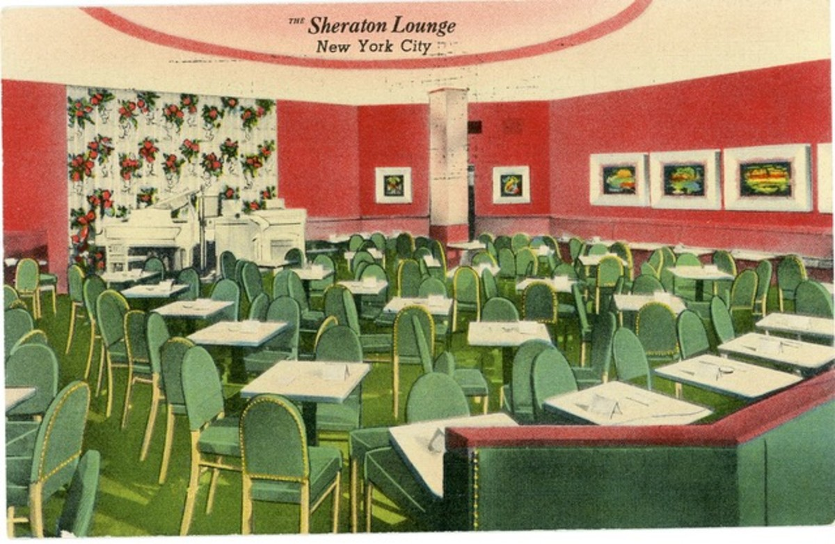 A postcard time capsule of the vibrant Sheraton Lounge in New York City.