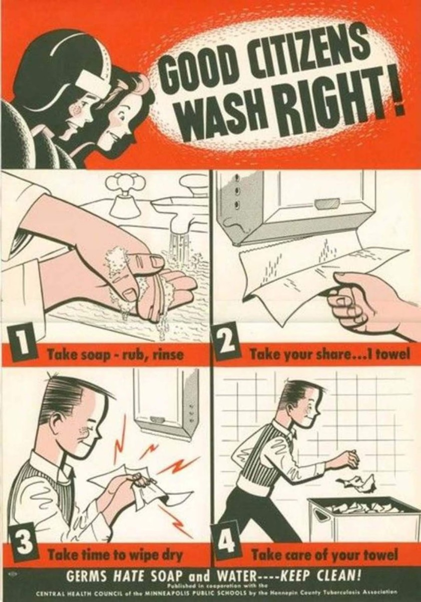 The Central Health Council of the Minneapolis Public Schools reminded people that washing your hands made you a good citizen, and showed the proper handwashing hygiene to have.