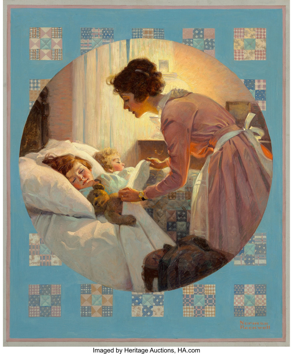 A classic image of a mother tucking her children into bed by Norman Rockwell: Mother's Little Angels, the Literary Digest cover from January 29, 1921.