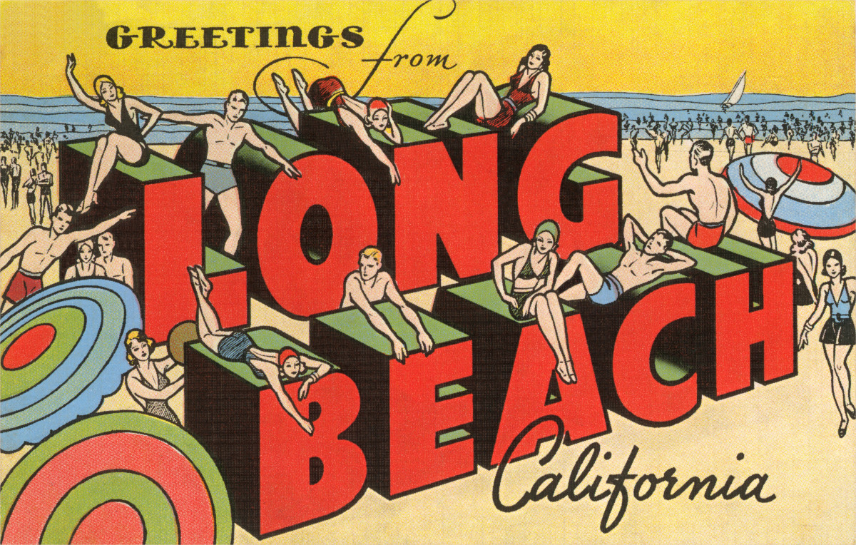 "Vintage large letter illustrated postcard ""Greetings from Long Beach, California"" showing sunbathers and beachgoers."