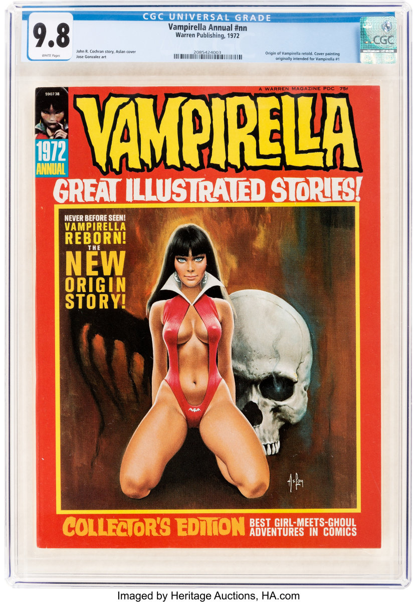 More than a dozen collectors also went after a Vampirella 1972 Annual (Warren, 1972) CGC NM/MT 9.8, white pages until it finished at $3,360.
