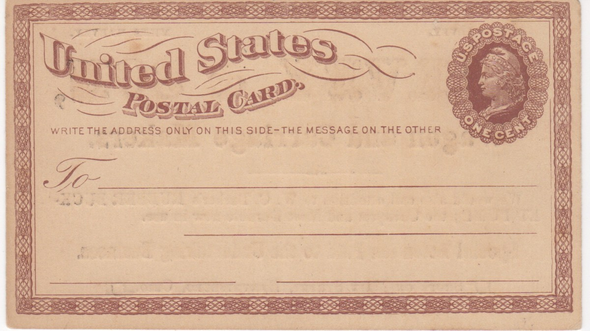 The front of the first U.S. Postal Card issued in 1873.