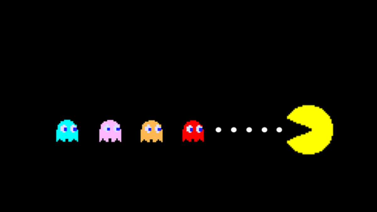 The goal of Pac-Man was to gobble up all the dots and avoid the four ghosts that were out to get you.