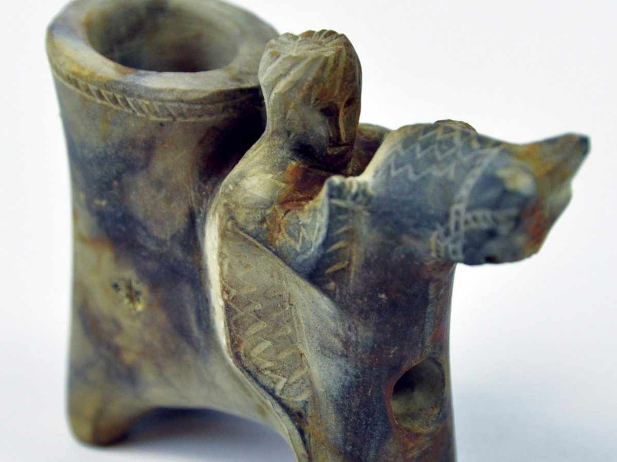 A camel and rider stone tobacco pipe found on the Ottoman trader.