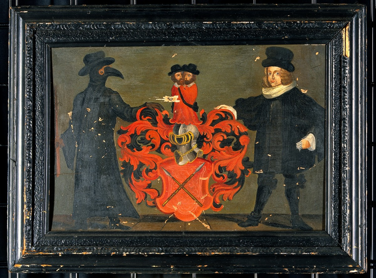 "One of the most intriguing plague doctor images is this painted coat of arms belonging to Theodore Zwinger III (1658-1724), a Swiss doctor and descendant of Theodore Zwinger I (1533-1588), the Swiss doctor and humanist whose Theatrum Humanae Vitae is considered, as the historian Helmut Zedelmaier writes, ""perhaps the most comprehensive collection of knowledge to be compiled by a single individual in the early modern period."" The painting depicts a plague doctor on one side of a blazon and a man in a ruff on the other — perhaps representing both the medical and the scholarly traditions of the Zwinger clan. Regardless, some sort of duality is being represented, and the extraordinarily avian plague doctor (even his eyes look birdlike) lends something mysterious to the picture. Between them is a red coat of arms bearing two crossed lances, and surmounted by two heads of men wearing 16th- or 17th-century hats."