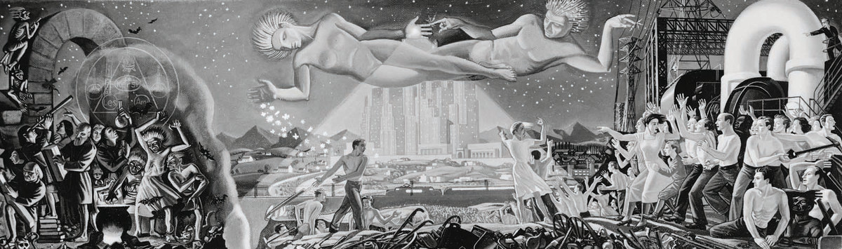 Rockwell Kent directed the painting process of this mural for the 1939 New York World's Fair.