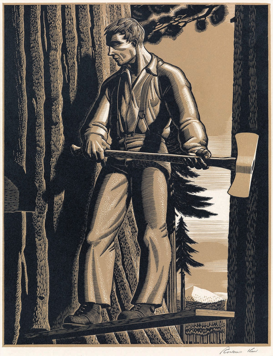 """The Faller,"" wood engraving, 1942, by Rockwell Kent"