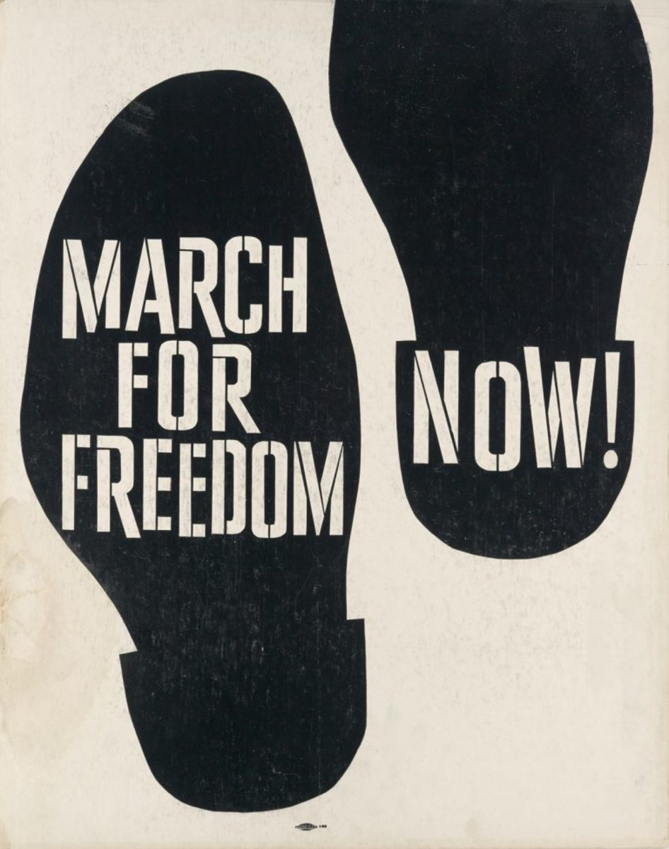 March for Freedom Now!, 1960; sold for $17,500. Poster used for a protest of the 1960 Republican Convention.