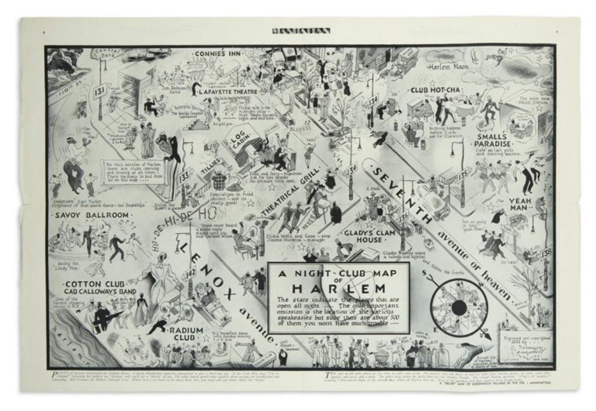 E. Simms Campbell, A Night-Club Map of Harlem, featured in the inaugural issue of Manhattan: A Weekly for Wakeful New Yorkers, 1933. Sold for $27,500, a record for the print.