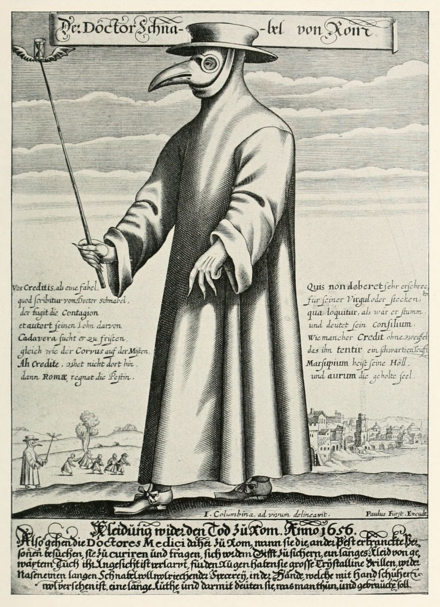 Copper engraving of Doctor Schnabel (i.e Dr. Beak), a plague doctor in seventeenth-century Rome, with a satirical macaronic poem.