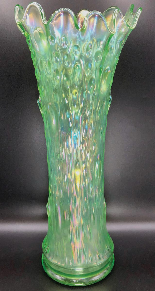 """Northwood 17-1/2"""" Ice Green Tree Trunk funeralvase, extremely rare with iridescence of green. blue, pink, and yellow, withemerald green tips."""