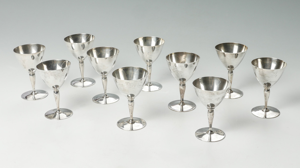 Tiffany sterling cordial glasses from Burchard Galleries