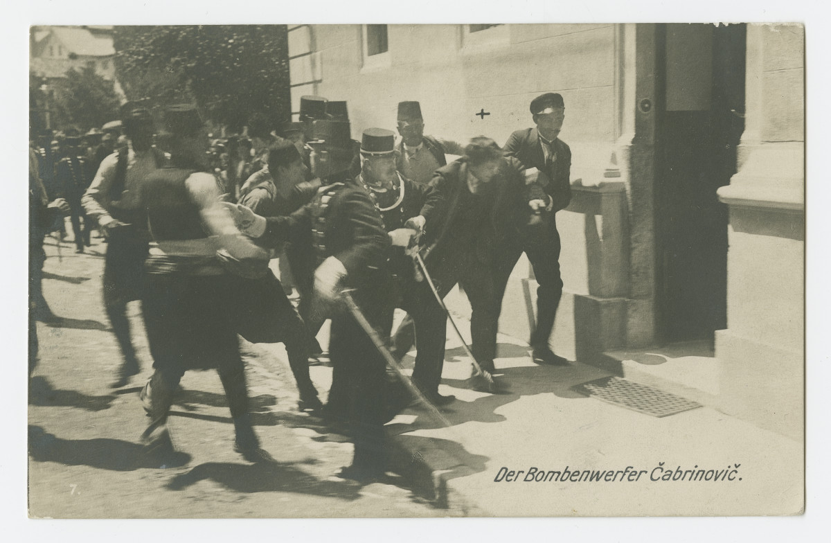 Historic postcard showing arrest of conspirator in assassination of Archduke Franz Ferdinand and his wife in the Bosnian capital of Sarajevo in June 1914. The killings sparked a chain of events that led to the outbreak of World War I.