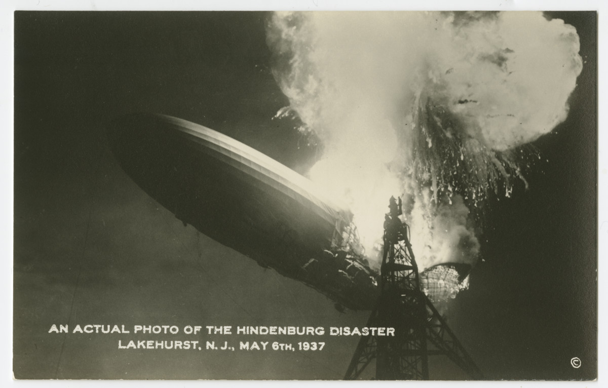 A postcard image of the Hidenburg disaster in Lakehurst, New Jersey, May 6, 1937.