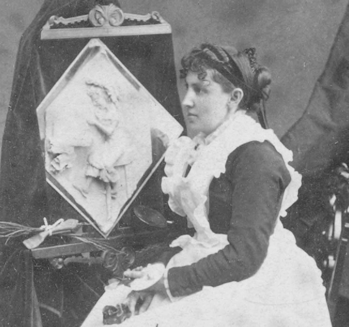 Caroline Shawk Brooks with one of her butter sculptures at Amory Hall in 1877.