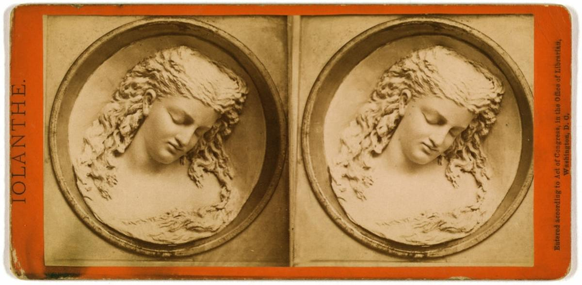 Stereograph showing The Dreaming Iolanthe (1876), a study in butter by Caroline S. Brooks.