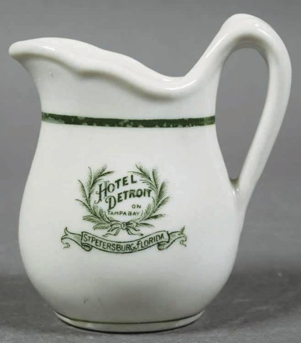 "A vintage restaurant-ware cream pitcher from the Hotel Detroit, St. Petersburg, Florida, 3"" h; $70."