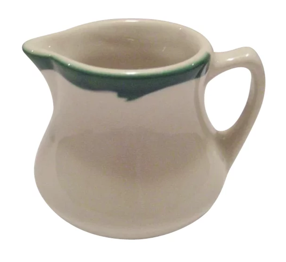 """A crest green restaurant ware creamer by Buffalo China, 2-7/8"""" h and 3-1/2"""" from handle to spout; $15."""