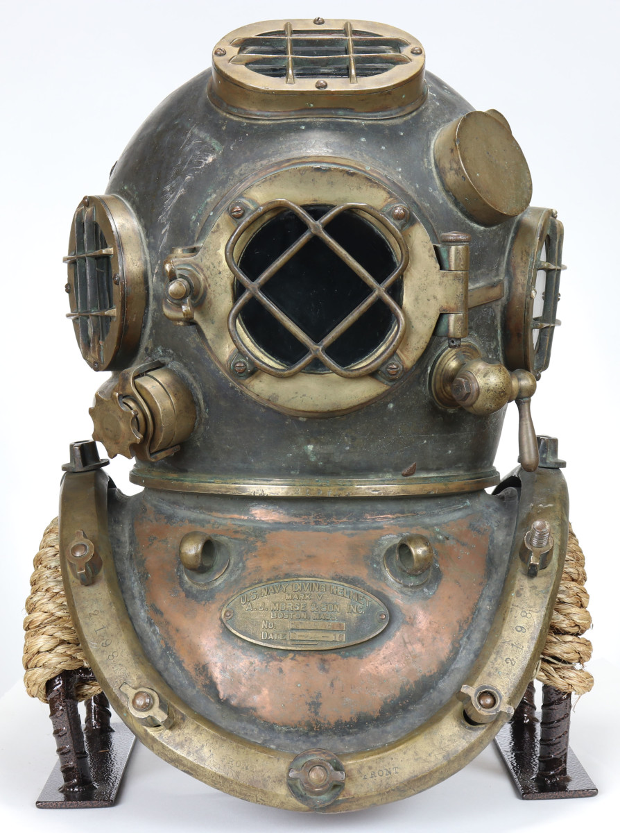 An ultra-rare 1916 U.S. Navy Mark V diving helmet made by A.J. Morse & Son Inc., Boston, could set a world record at auction.