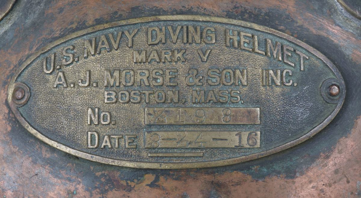 The ID plate is the style used on Mark V helmets made by A.J. Morse & Son. The plate is stamped No. 2198, date 8-24-16.