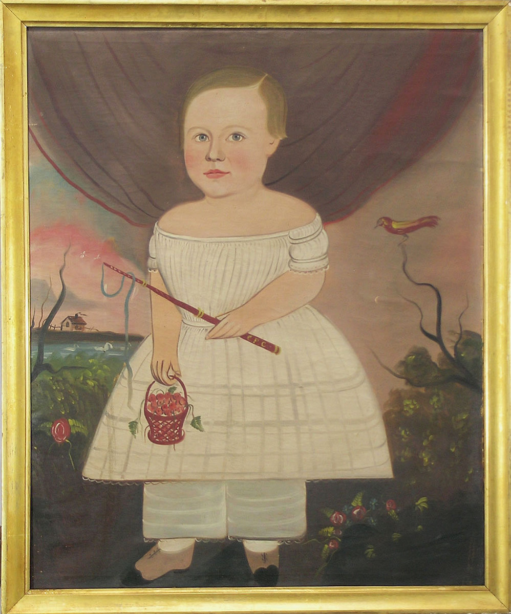 Oil on canvas, depicting a child standing in a landscape with flowers and a bird in a tree, holding a basket of raspberries in one hand and a whip in the other, the whip bearing the initials C.F.C. Attributed to William Matthew Prior (American, 1806-1873); estimate: $3,000-$5,000.