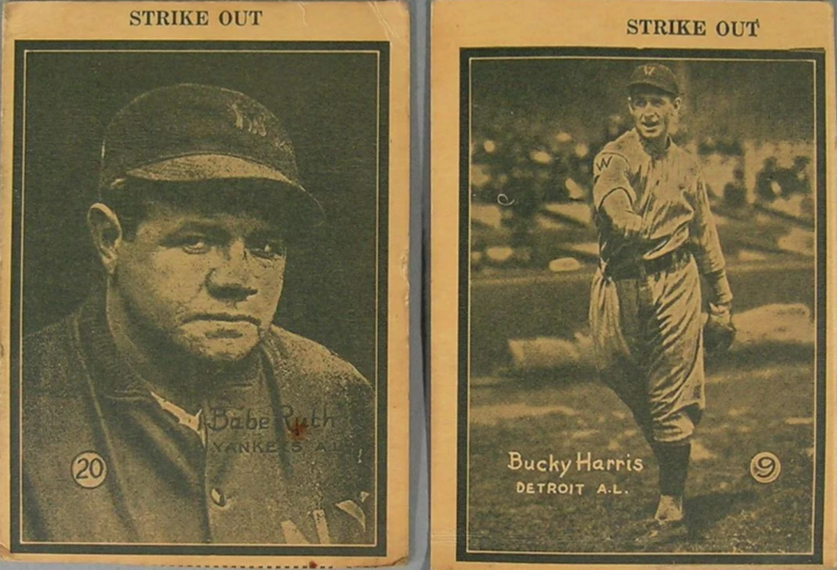"Two 1931 W517 Strike Out Strip baseball cards comprising Babe Ruth, Yankees, and Bucky Harris, Detroit A.L., both being approx. 2-7/8"" x 4""; estimate: $400-$600."