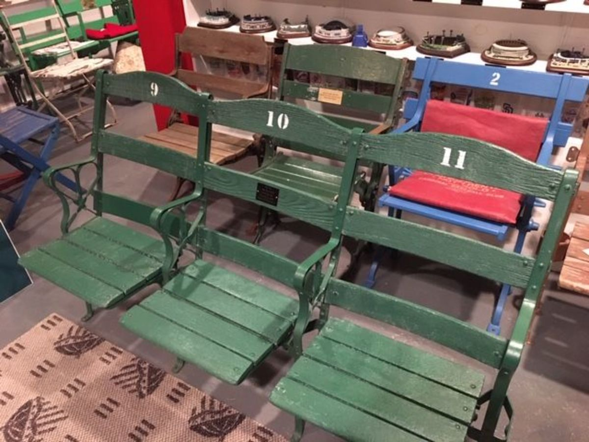 Seats from New York's Shea Stadium were the first purchase of this baseball fan.