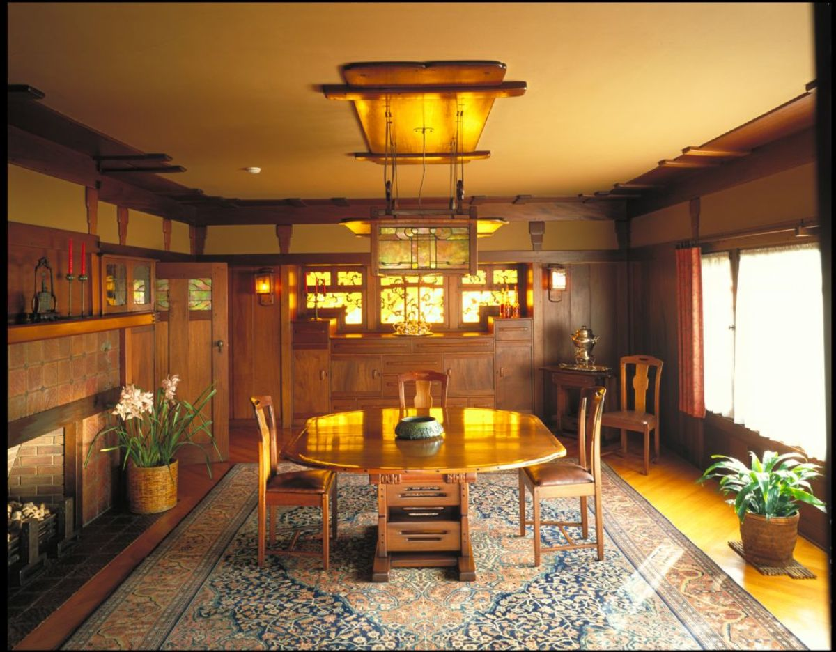 Japanese influence permeates the dining room, the most formal room at the Gamble House in Pasadena, generally considered one of the finest examples of residential architecture in the United States. Like the house, the furniture was designed by brothers Henry and Charles Greene.