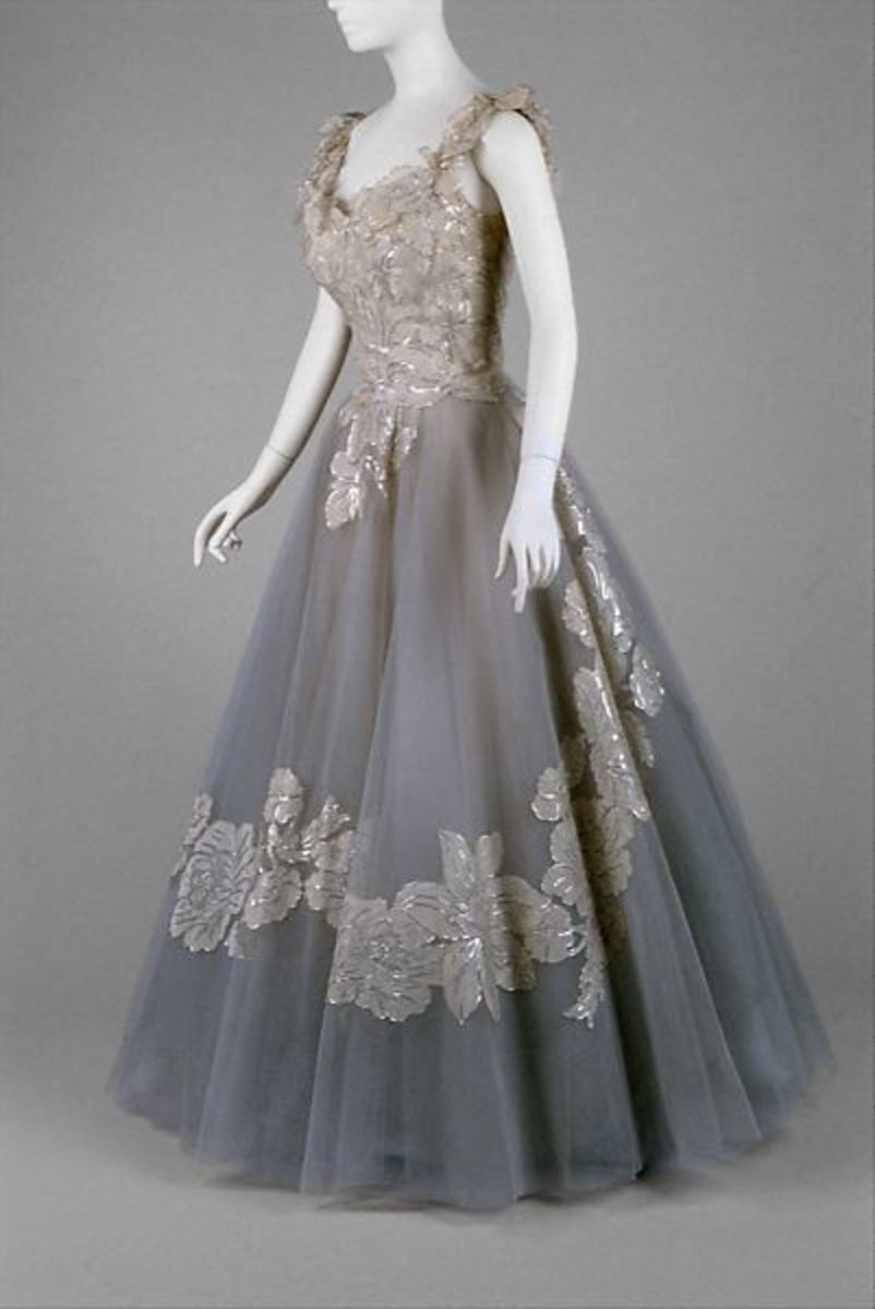 Evening dress, circa 1960, nylon, metallic thread, silk. Gift of Lucy Curley Joyce Brennen to the Met Museum, 1979.