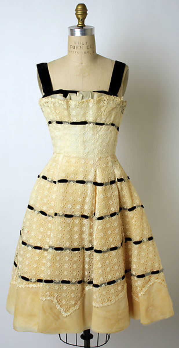 Dress, circa 1956, cotton and synthetic. Gift of Dr. and Mrs. Samuel A. Thompson to the Met Museum, 1981.
