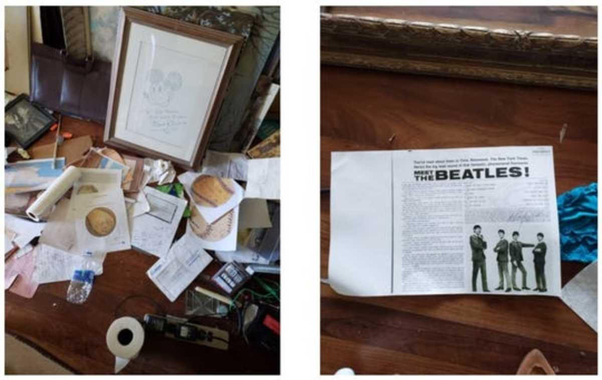 The FBI raid at the home of DB Henkel turned up purported memorabilia including a Mickey Mouse drawing with a Walt Disney signature and an ad for the Beatles.