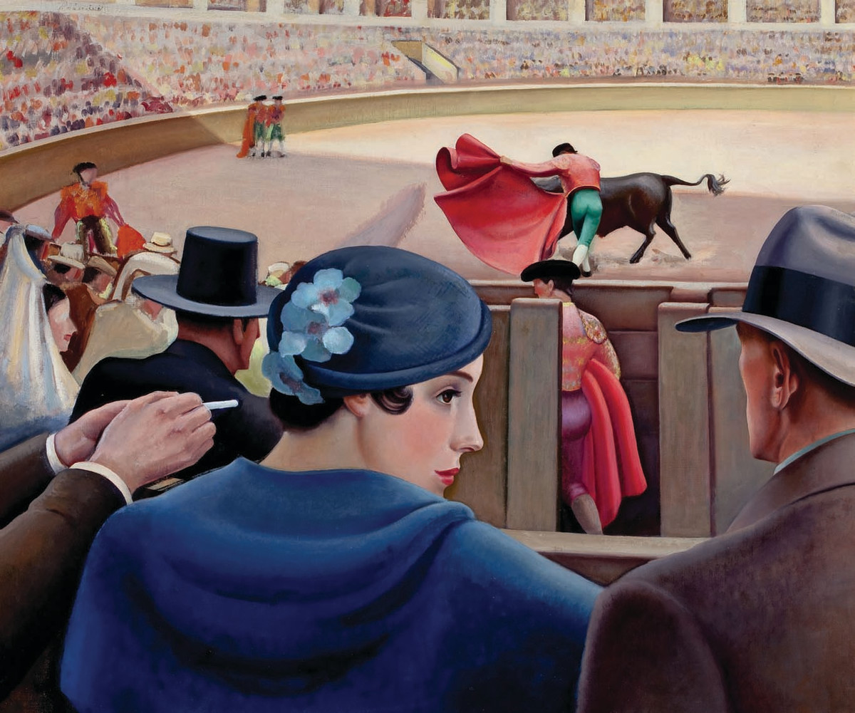 The Bull Fight by Edna Reindel (American, 1894-1990), circa 1936, oil on canvas.