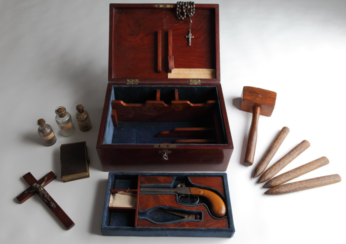 The vampire killing kit at the Royal Armouries Museum in Leeds.