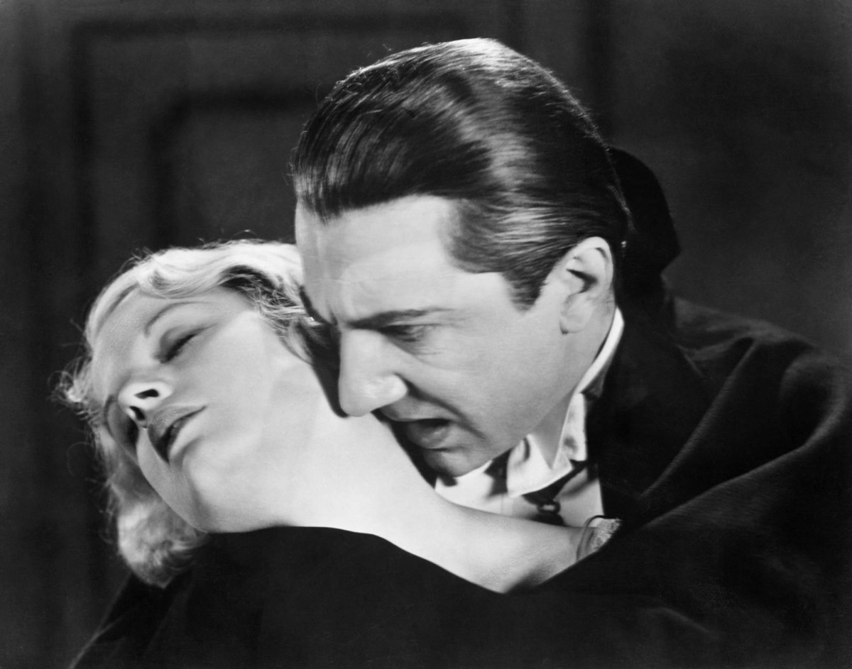 "Dracula (Bela Lugosi) prepares to feast on Mina (Helen Chandler) in this publicity still for Dracula (1931). Charles Hanson said slaying vampires used to be an ""extremely serious"" business."