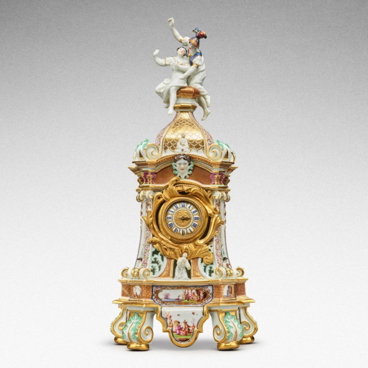 This highly important documentary and dated Meissen mantel clock case, dated 1727, was the top lot, selling for $1.5 million and soaring past its estimate of $200,000-$400,000.