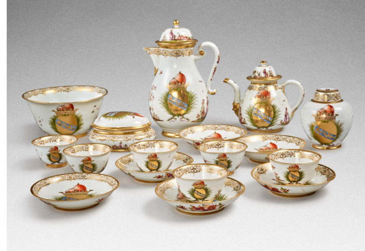 A rare Meissen armorial tea and coffee service made for the Morosini family, with the sugar box dated 1731, sold for $1.3 million; estimate was $120,000-$180,000.