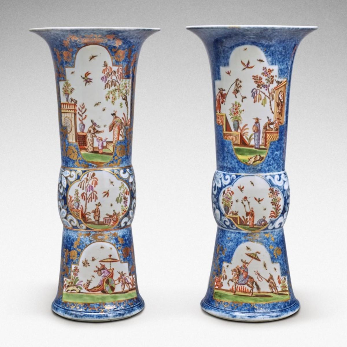An extremely rare pair of Meissen Augustus Rex underglaze-blue-ground beaker vases, circa 1725, sold for $1.2 million; estimate was $80,000-$120,000.