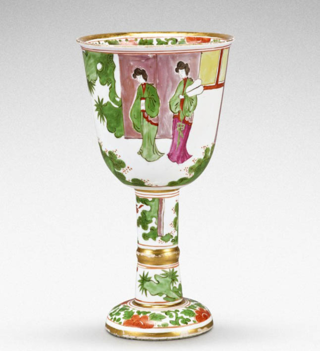 This extremely rare Meissen famille verte goblet, circa 1725, sold for $1.1 million; estimate was $50,000-$70,000.