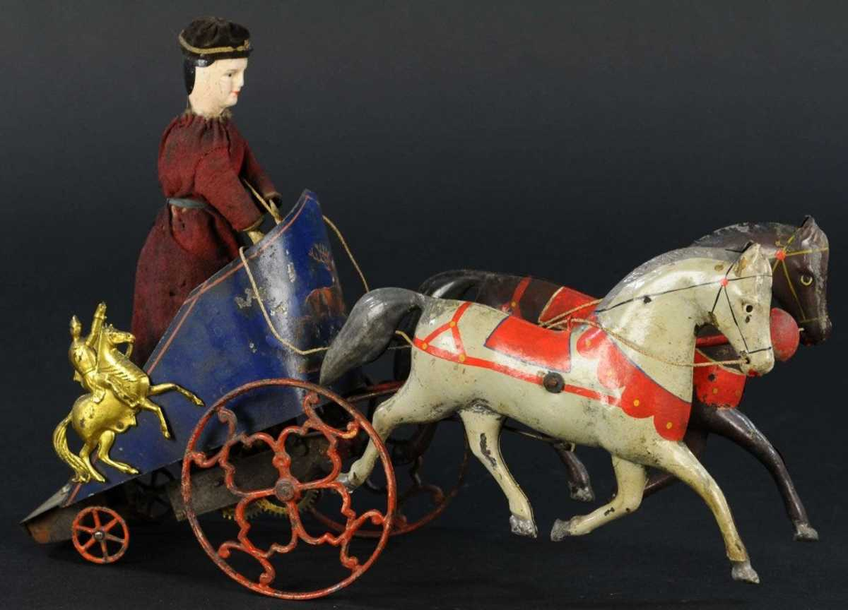 """This Ives Hippodrome Chariot, believed to be the best of only a few known examples of the rare toy, was the top seller of Ives offerings, bringing $20,000. It is arguably the most uniquely designed horse-drawn vehicle that Ives produced, featuring a tall figure standing in a clockwork chariot with gold decorated swordsmen at the sides, and a carriage drawn by a team of two hand-painted horses; 14-1/2"""" l."""