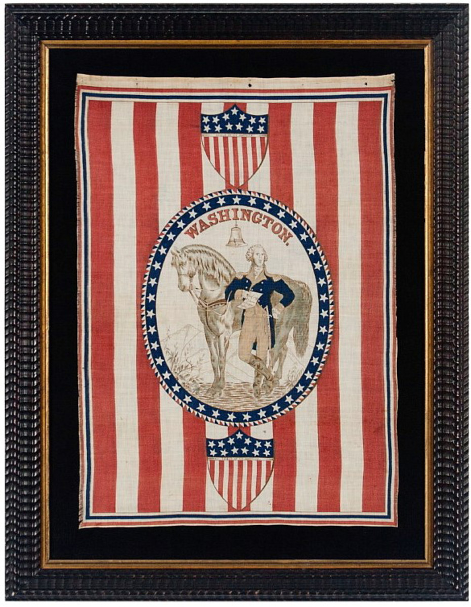 """A scarce 1876 Centennial George Washington parade banner. Washington holds a note that says, """"Washington; Victory is Ours; Paul Jones."""""""