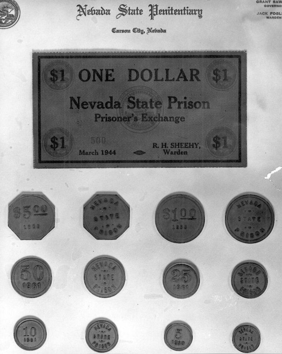The various Nevada State Prison tokens used at the casino.