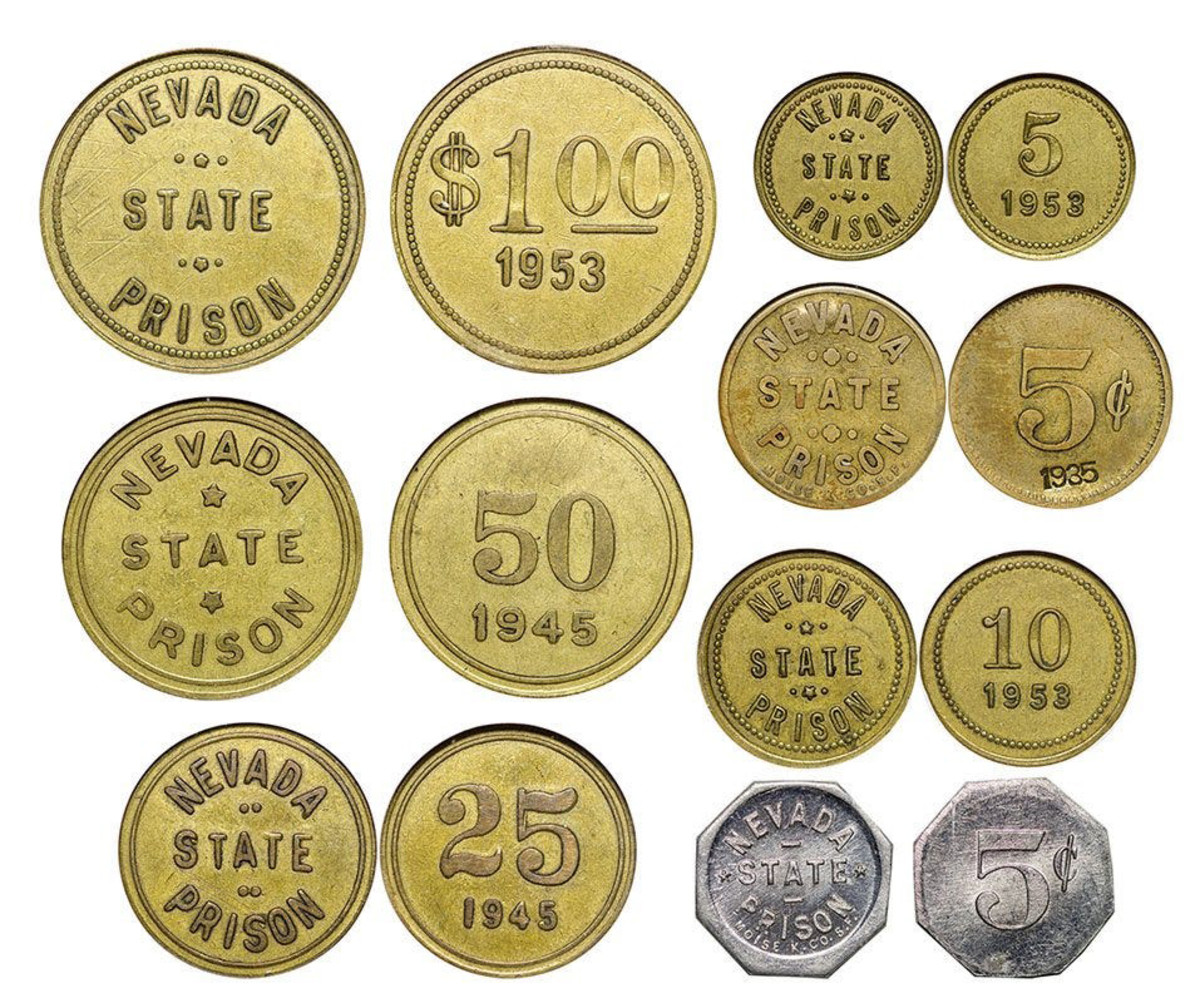 Nevada State Prison token collection of 36 different pieces sold at auction in 2014 for $1,050.