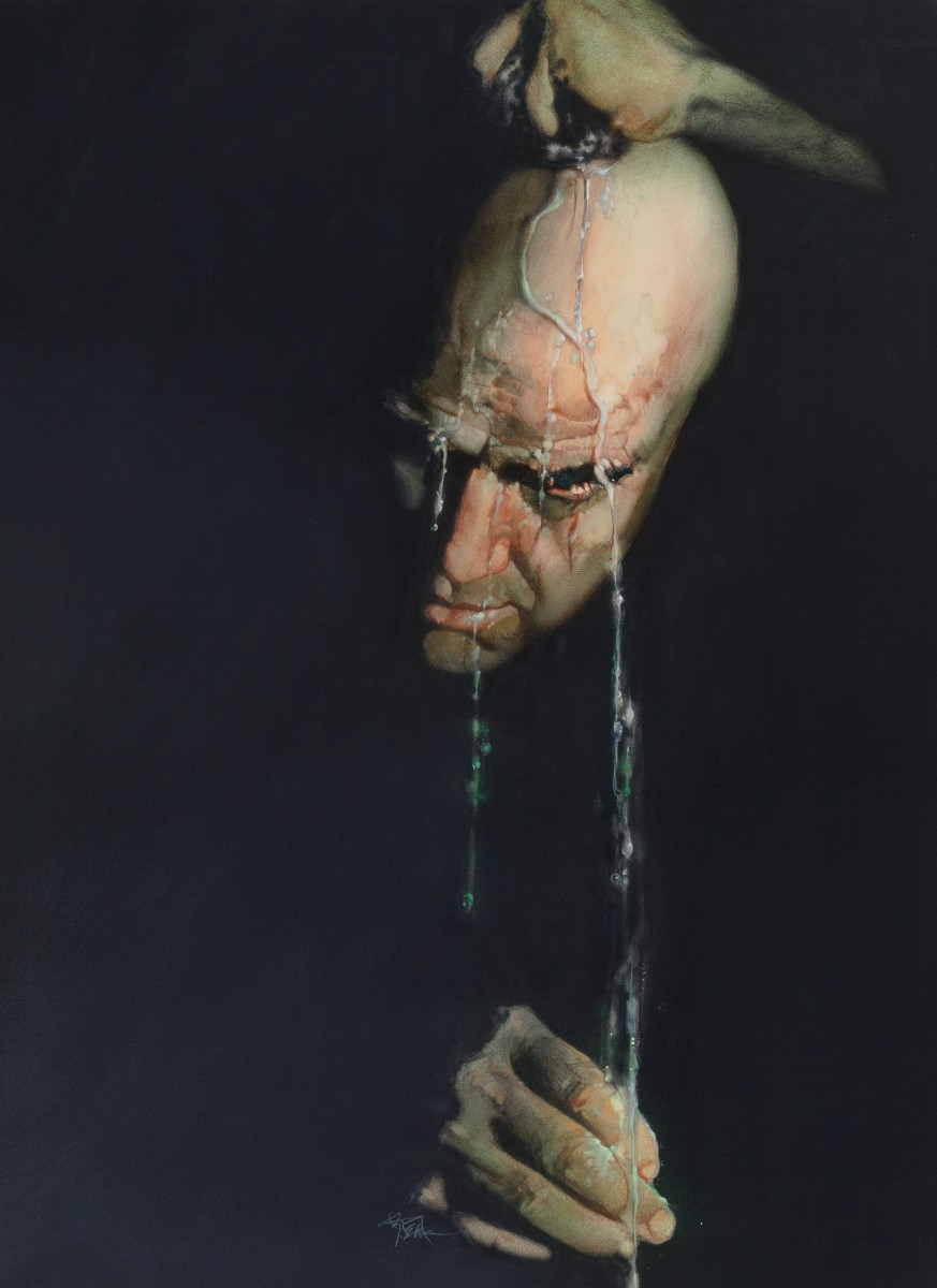 Robert Peak's Apocalypse Now movie poster illustration featuring Marlon Brando, 1979, sold for an artist-record $212,500. The illustration was the final, published poster for the European release of the film. It was then later published for the trilogy of posters in America.